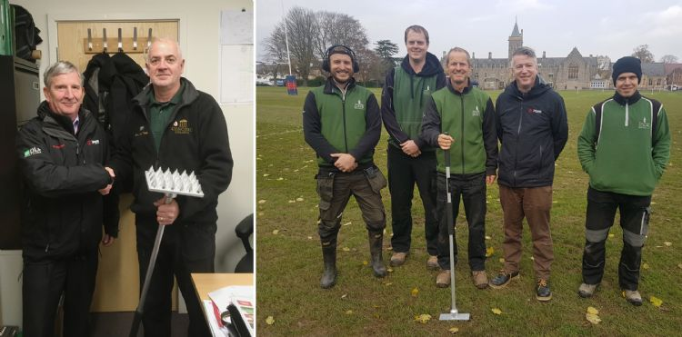 DLF's John Hughes (left) presenting Paul with the ForthRoots MultiTool - Ian Barnett (2nd from right) with Mark and him team at Taunton School